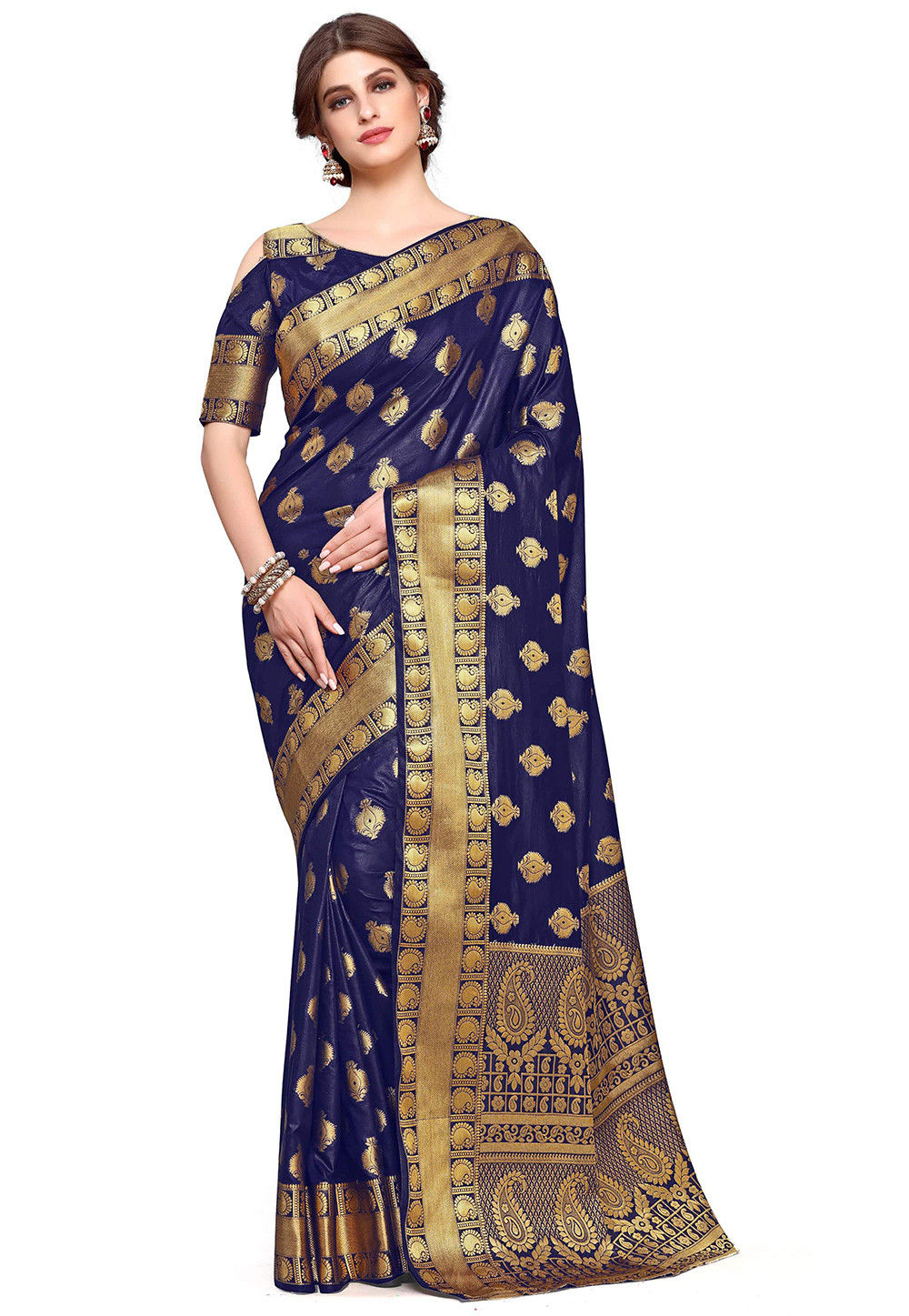 Kanchipuram Silk Saree in Navy Blue