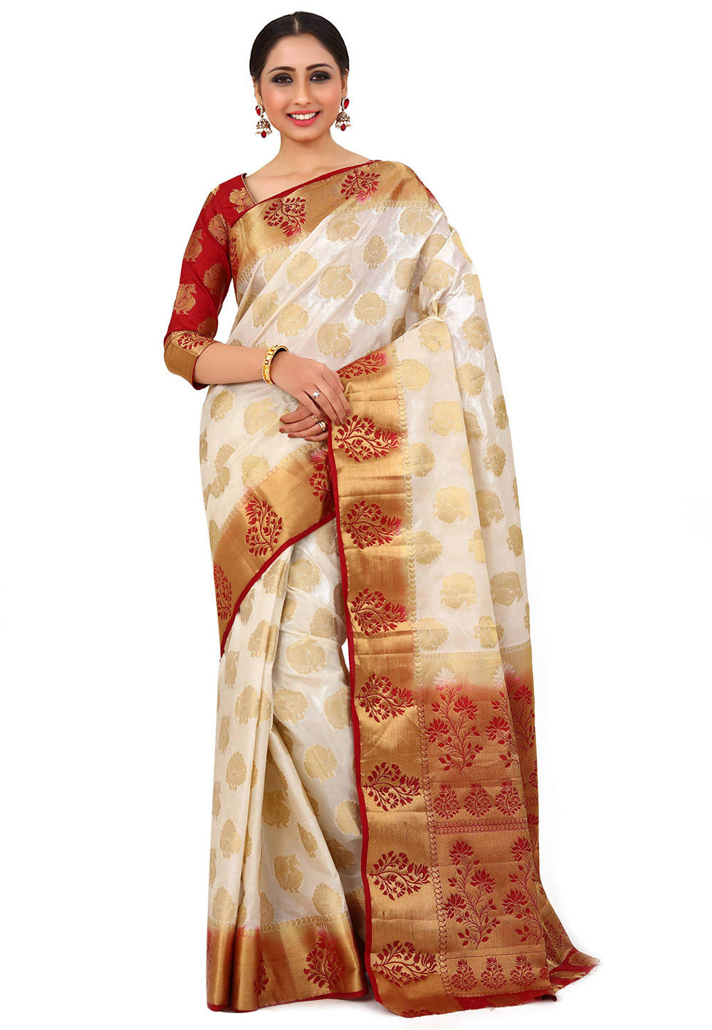 Kanchipuram Silk Saree in Off White