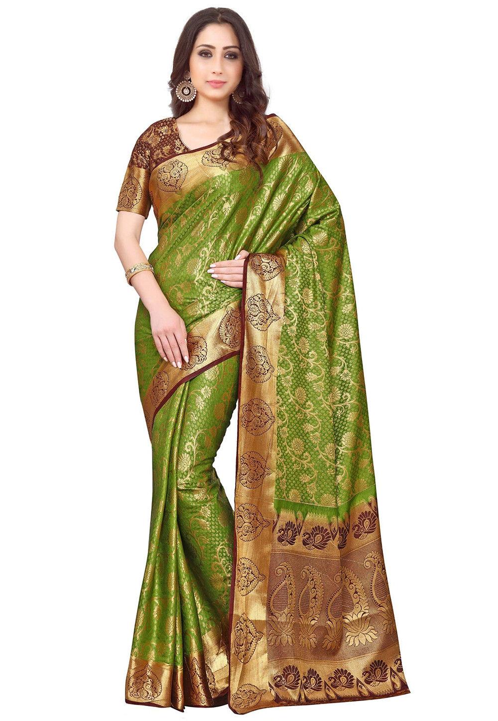 Kanchipuram Silk Saree in Olive Green