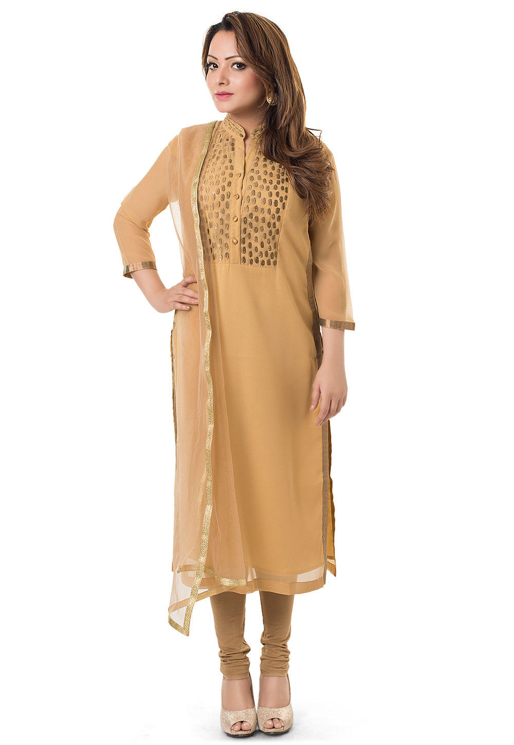 Embroidered Straight Cut Suit in Beige