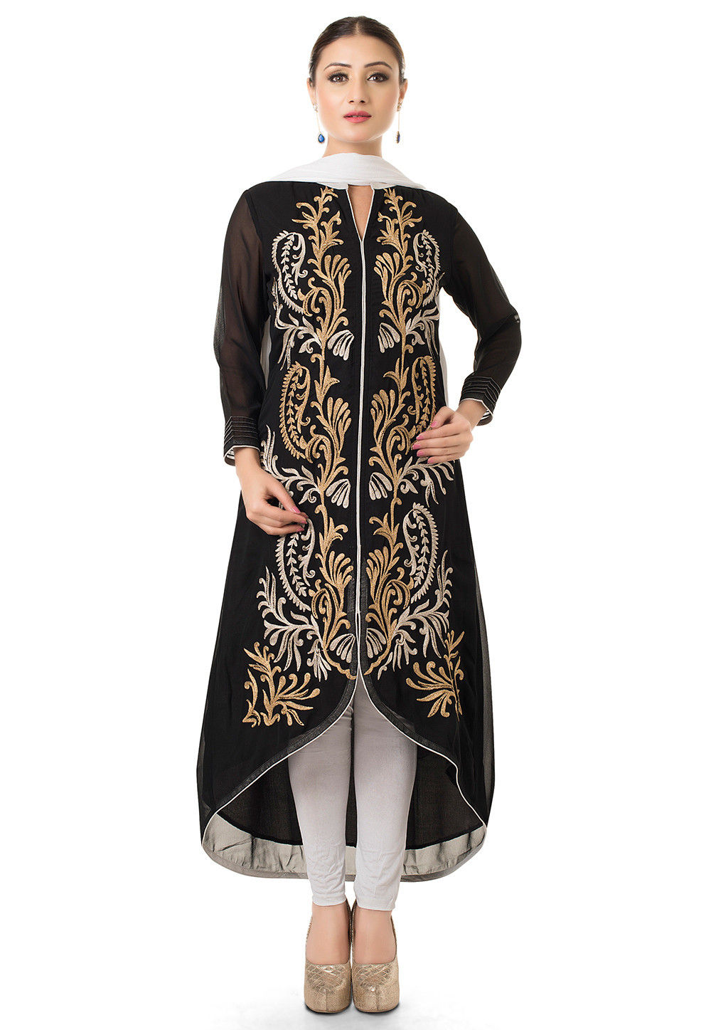 Embroidered Asymmetric Suit in Black
