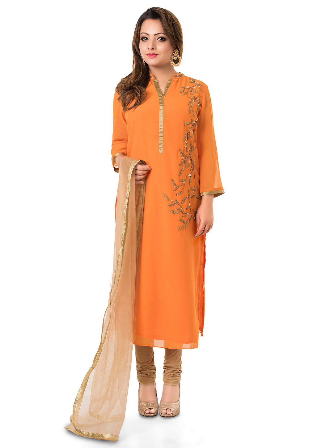Hand embroidered Straight Cut Suit in Orange