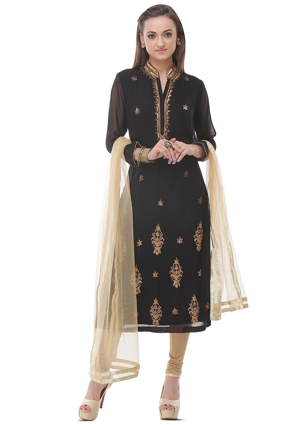 Hand Embroidered Straight Cut Viscose Suit in Black