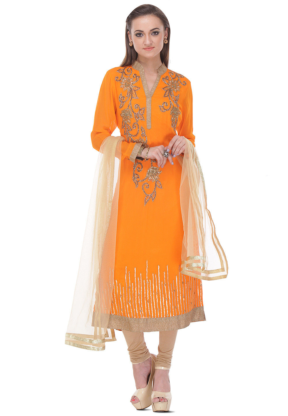 Hand Embroidered Straight Cut  Viscose Suit in Orange