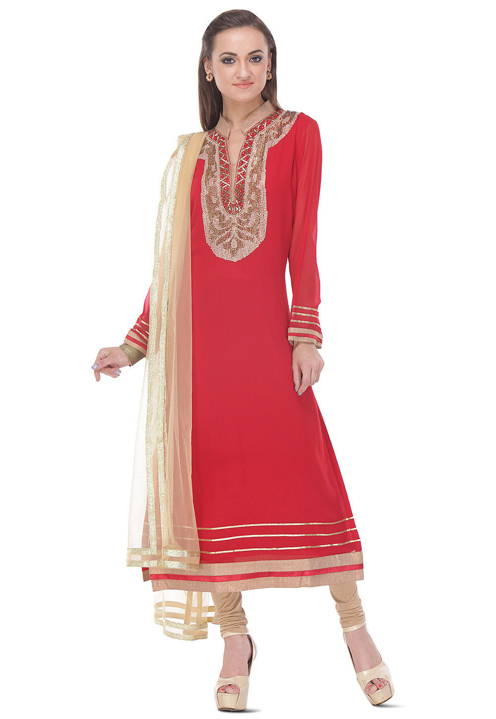 Hand Embroidered Straight Cut  Viscose Suit in Red