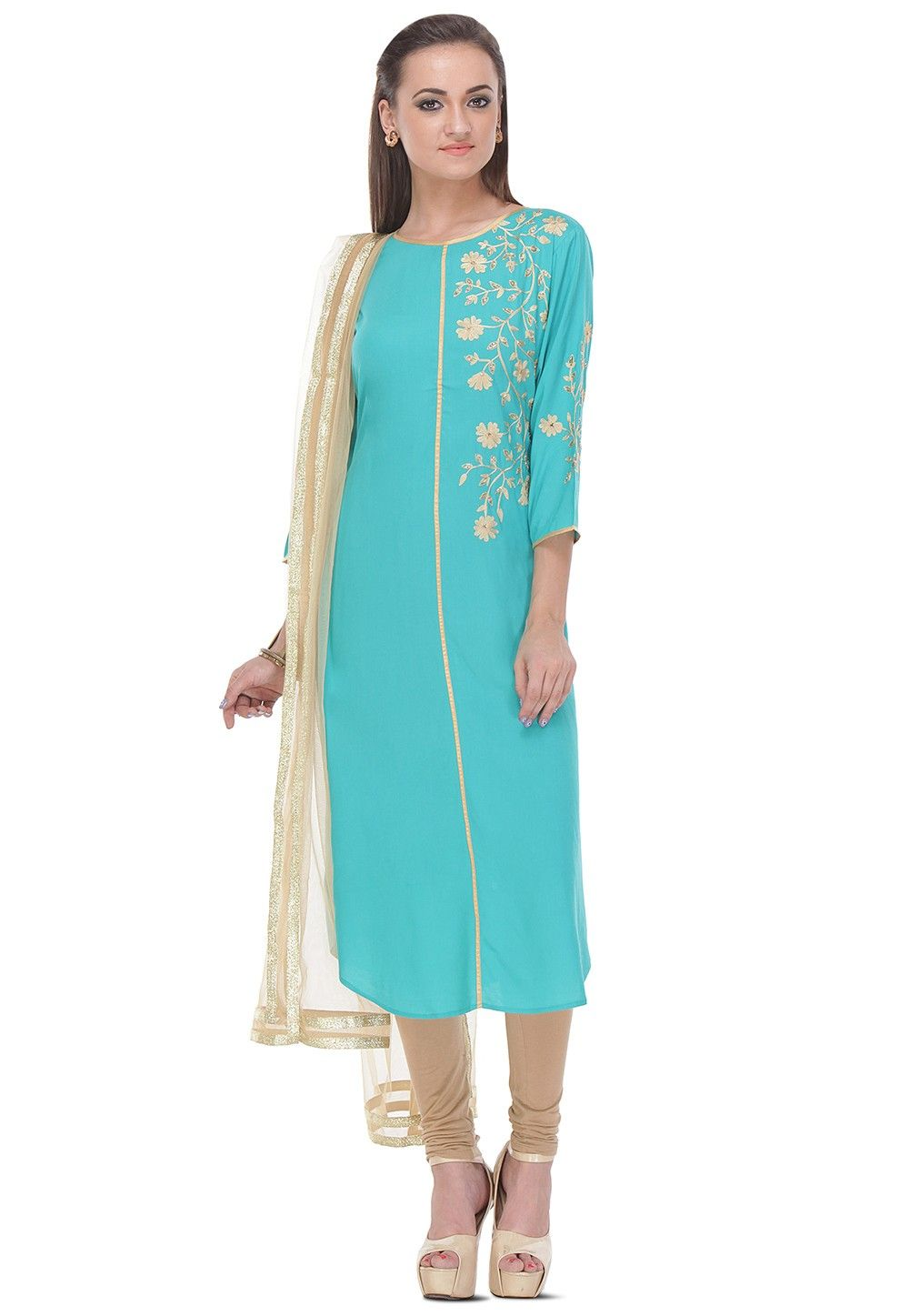 Embroidered Straight Cut Rayon Suit in Sky Blue