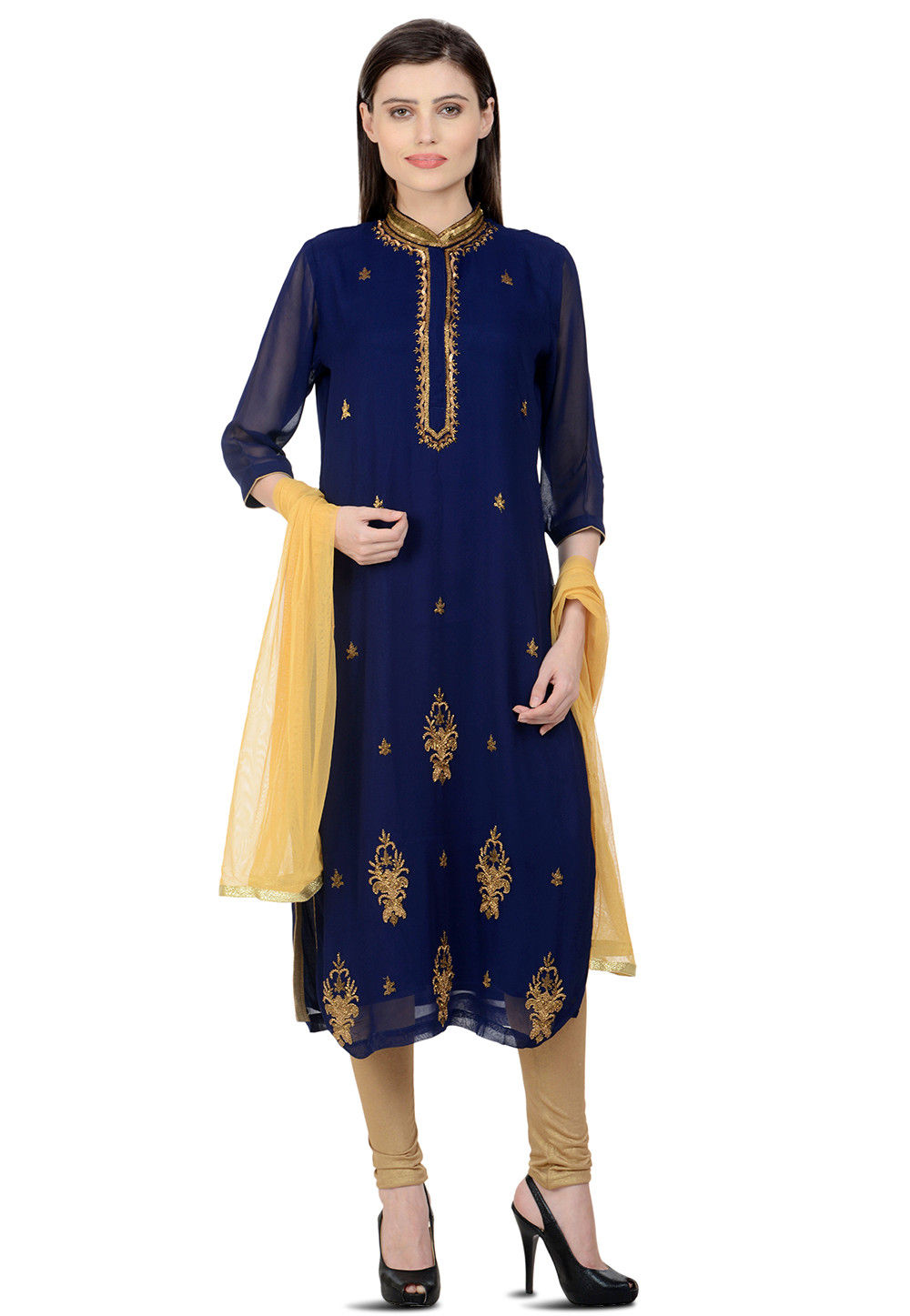 Hand Embroidered Georgette Straight Suit in Navy Blue