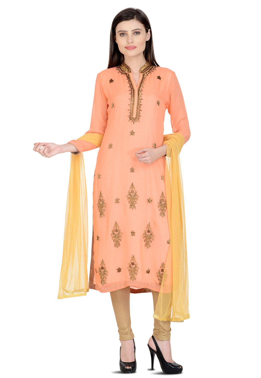 Hand Embroidered Georgette Straight Suit in Peach