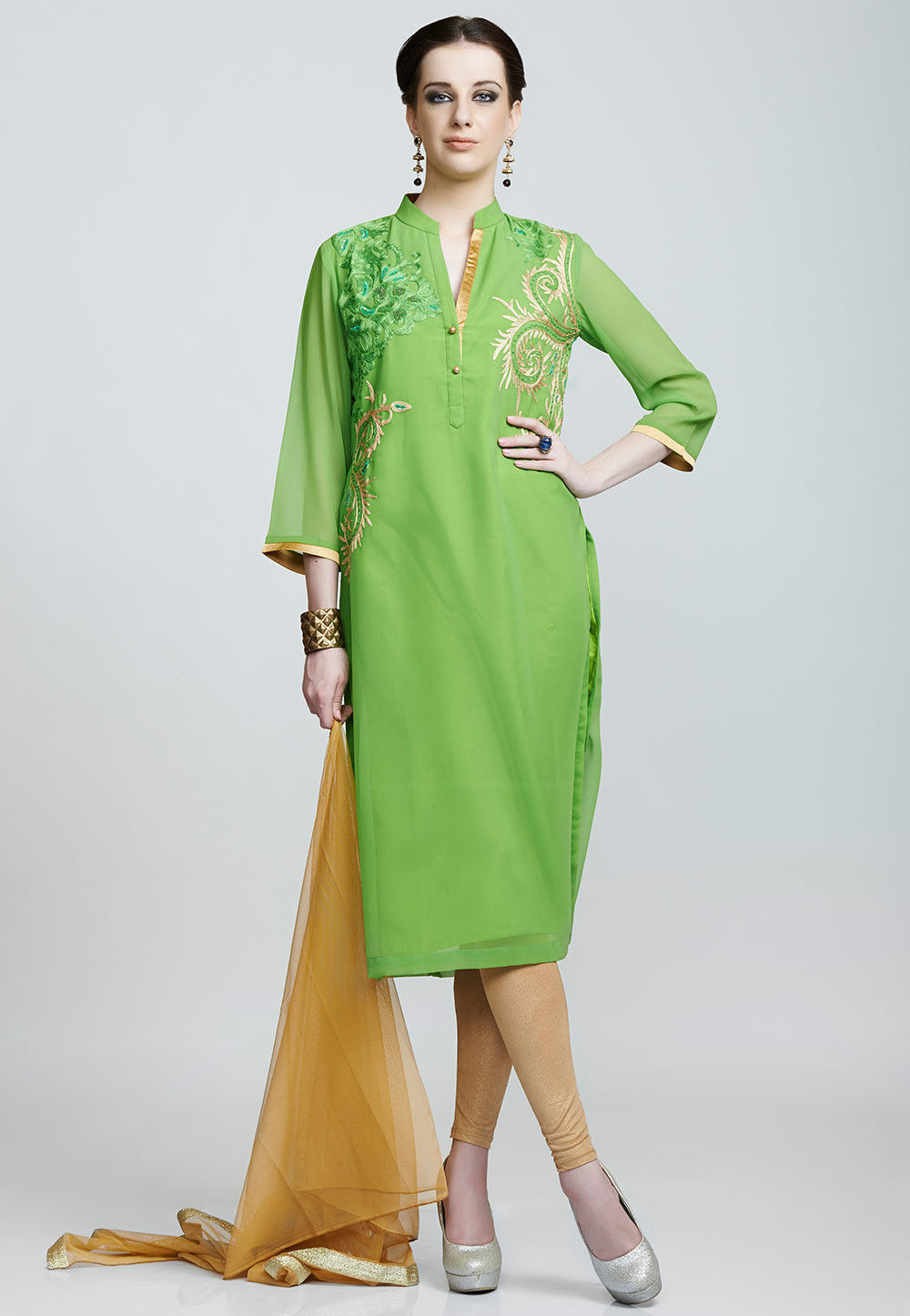 Embroidered Georgette Straight Cut Suit in Green