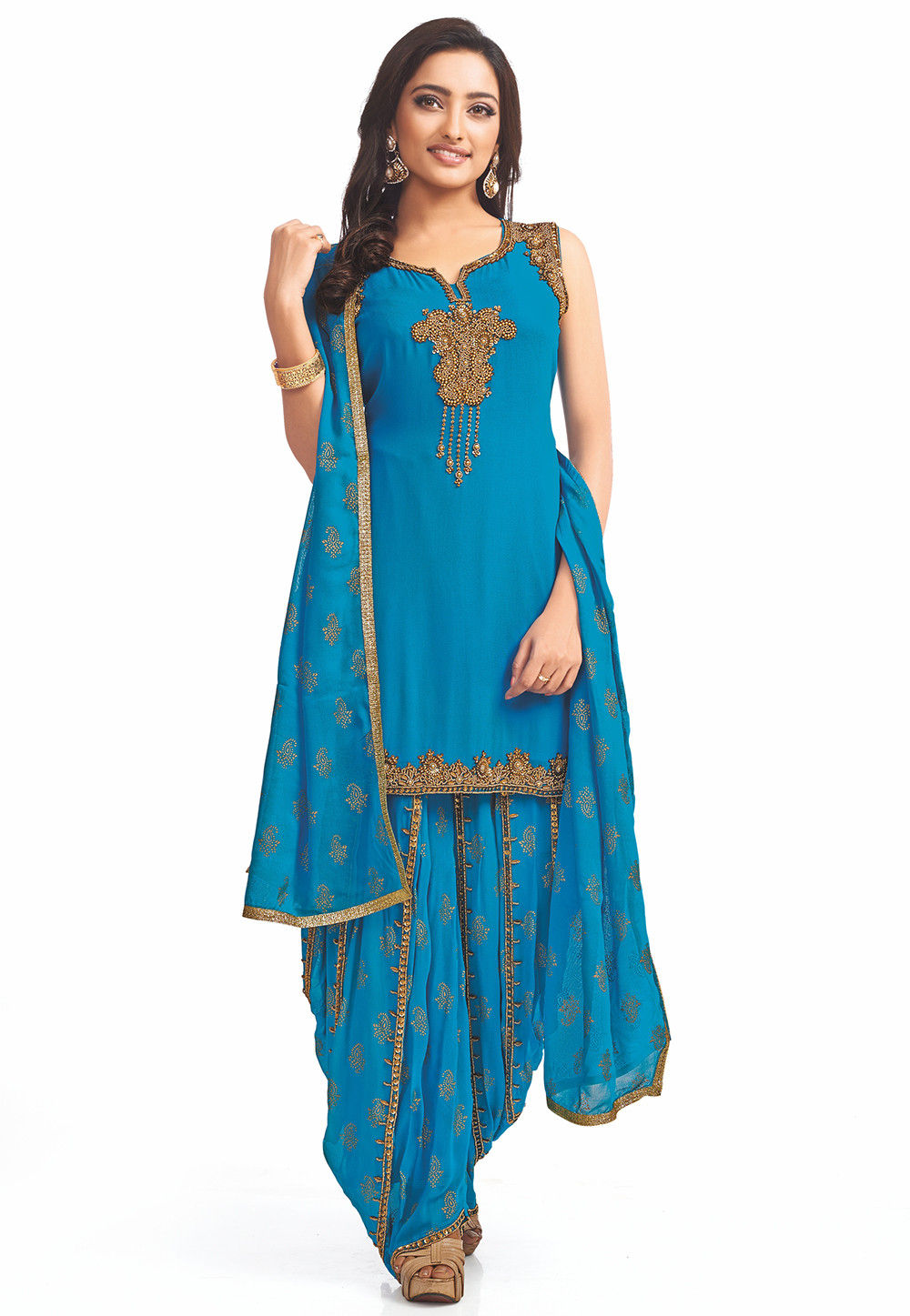Embroidered Georgette Punjabi Suit in Sky Blue : KBZ223