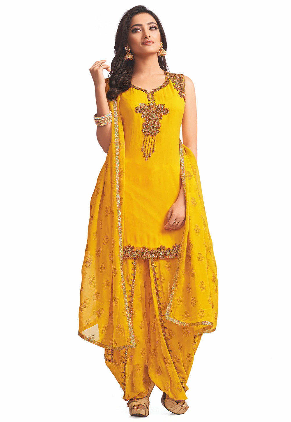 45c1525f9e Embroidered Georgette Punjabi Suit in Yellow : KBZ224