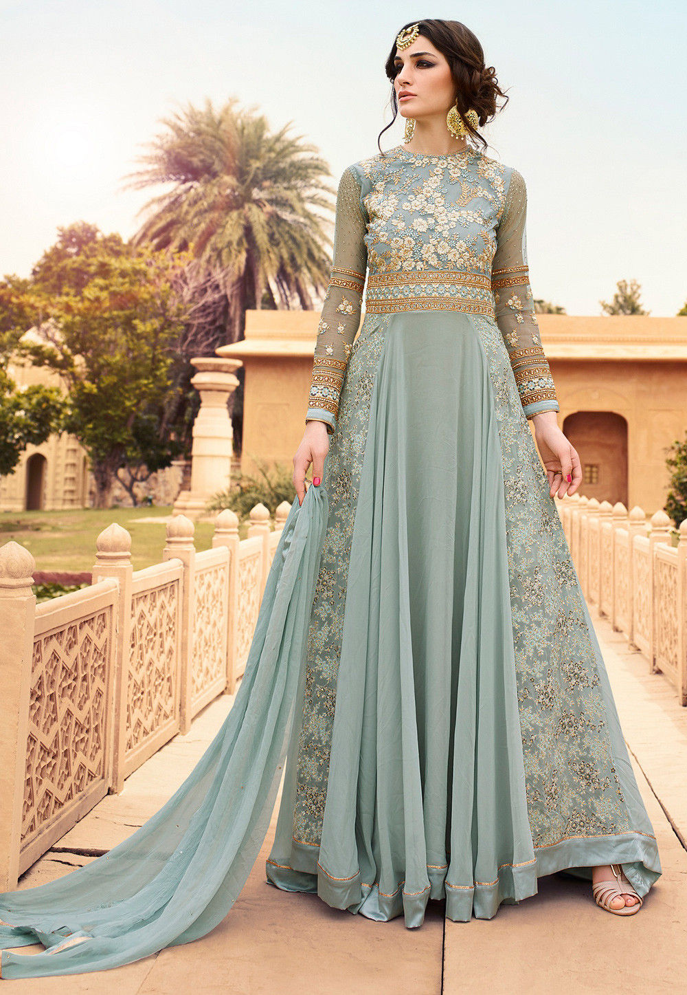 Embroidered Net and Georgette Abaya Style Suit in Pastel Blue