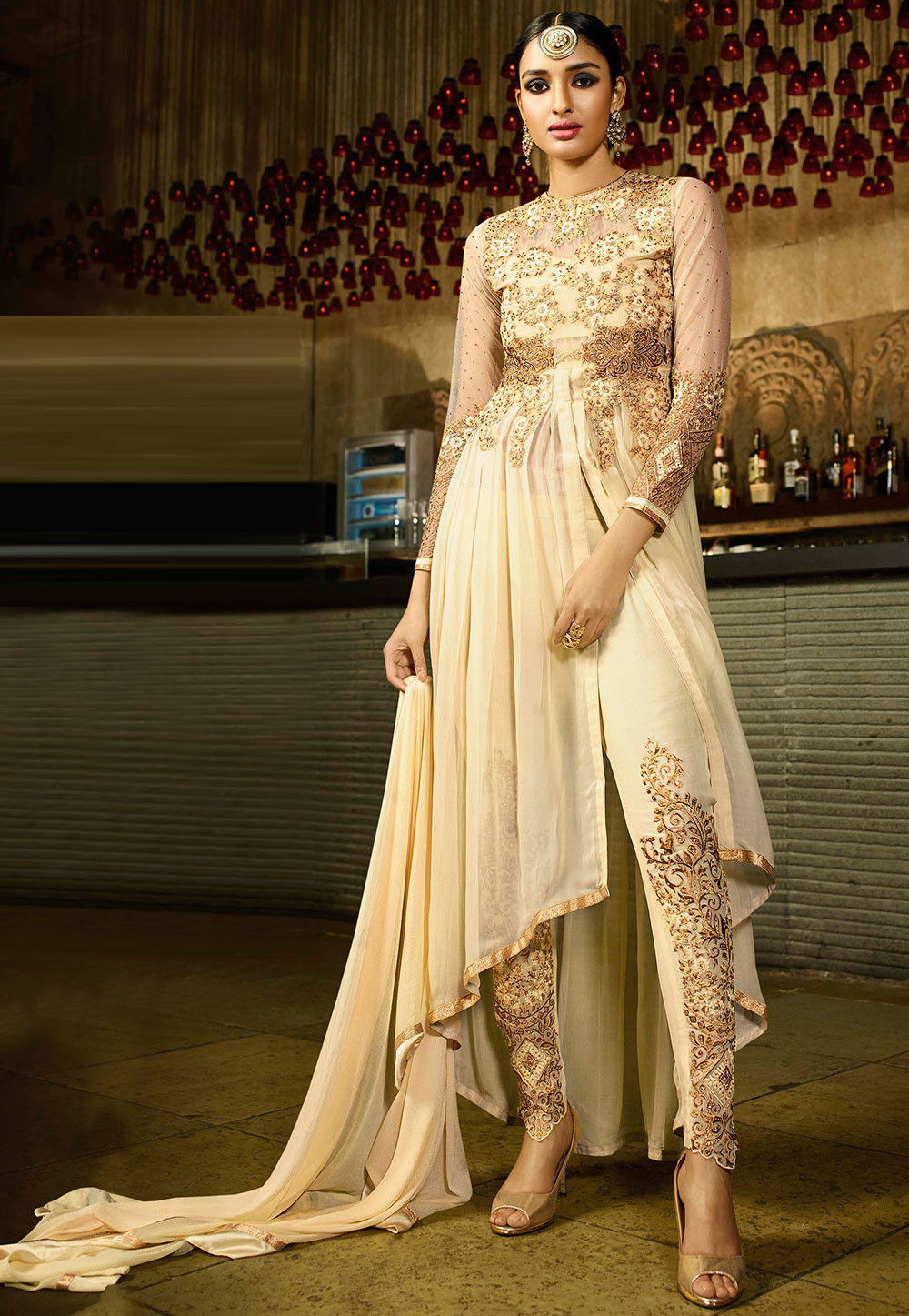 Embroidered Georgette Asymmetric Front Slit Anarkali Suit in Cream