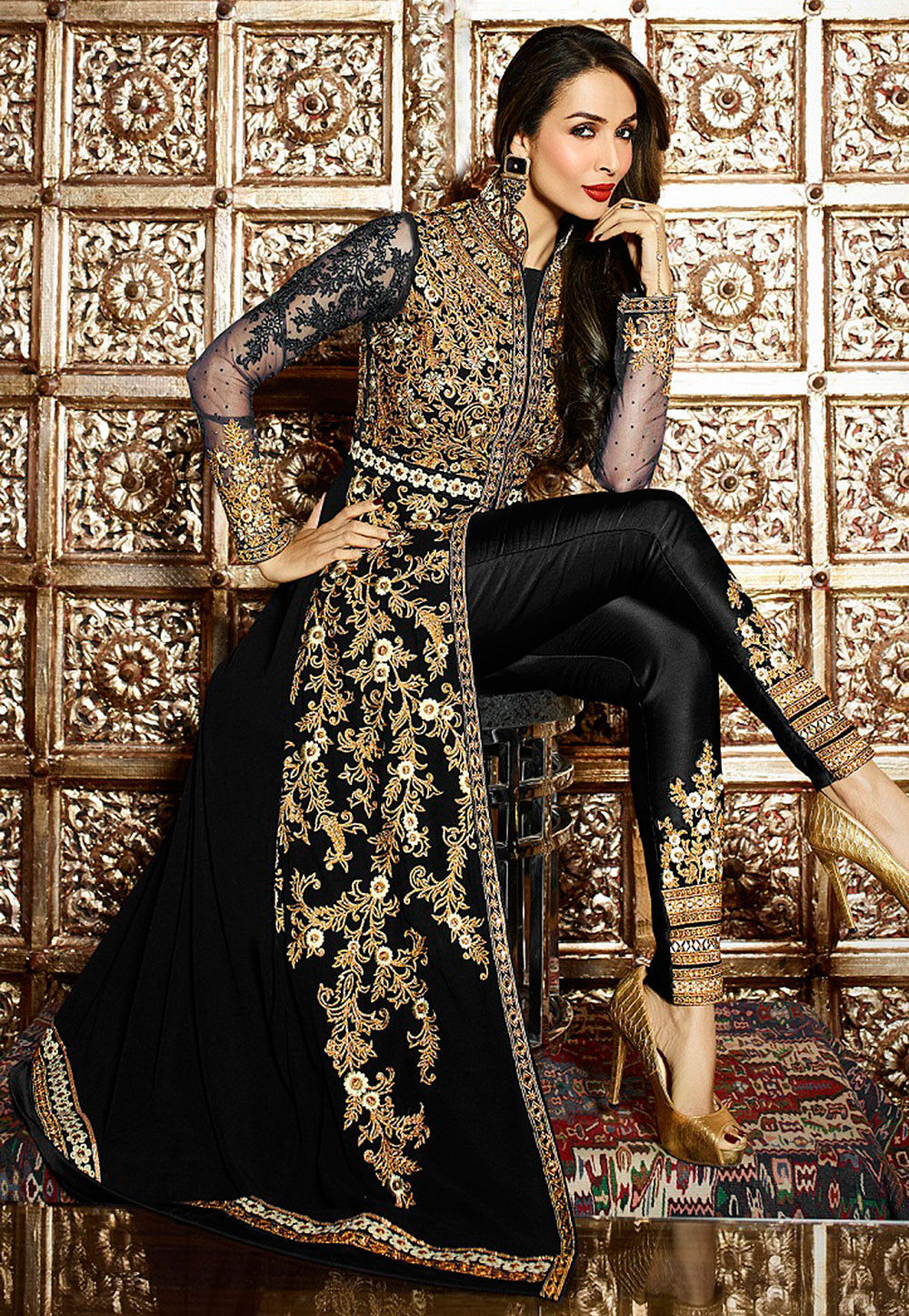 Embroidered Georgette Jacket Style Abaya Suit in Black