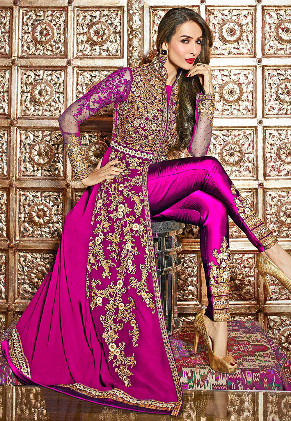 Embroidered Georgette Jacket Style Abaya Suit in Fuchsia