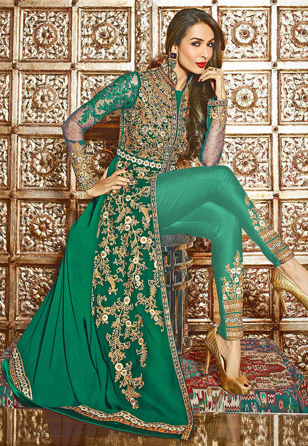 Embroidered Georgette Jacket Style Abaya Suit in Teal Green