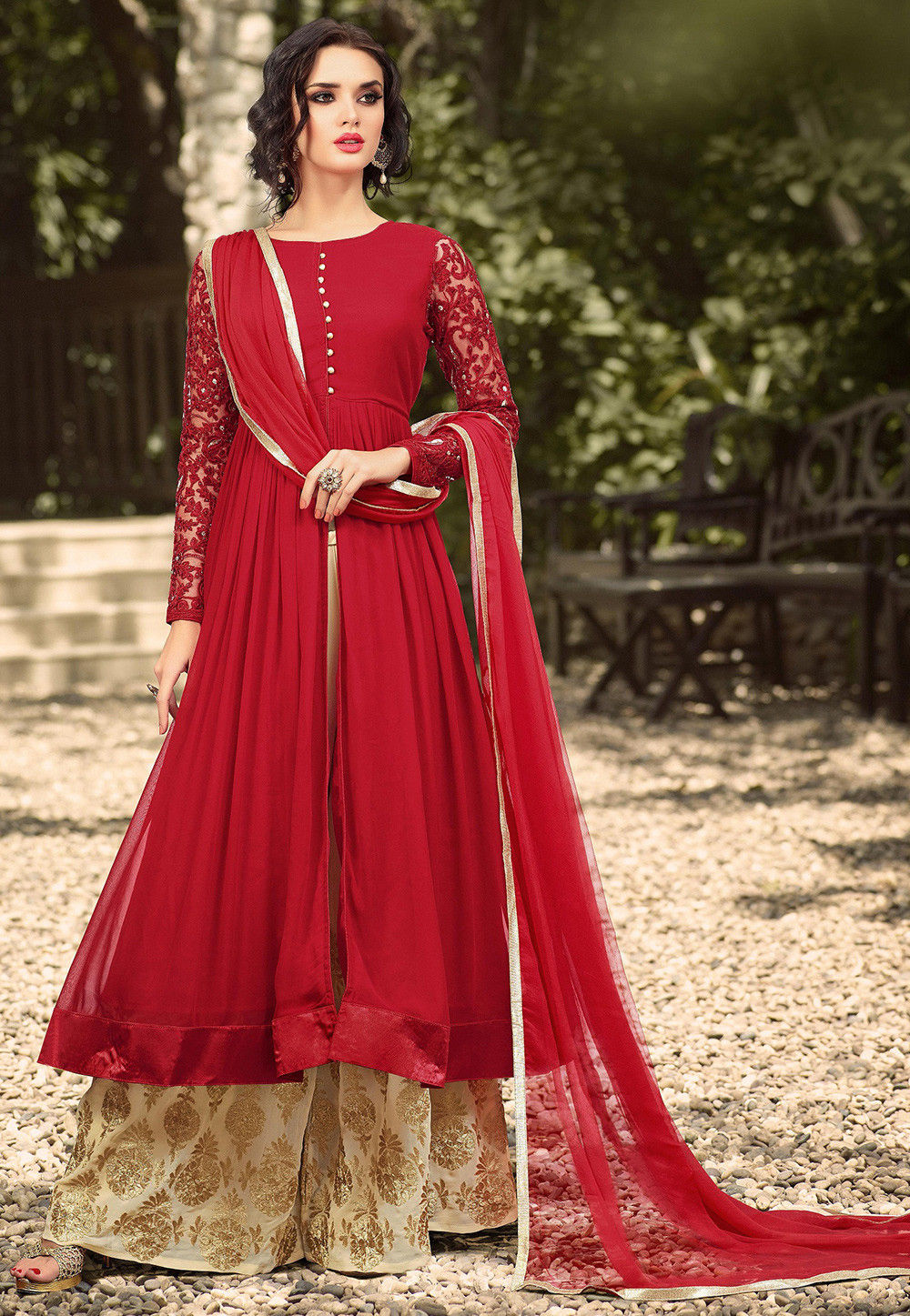 96a2ed4459 Front Slit Georgette Anarkali Sharara suit in Red : KCH246