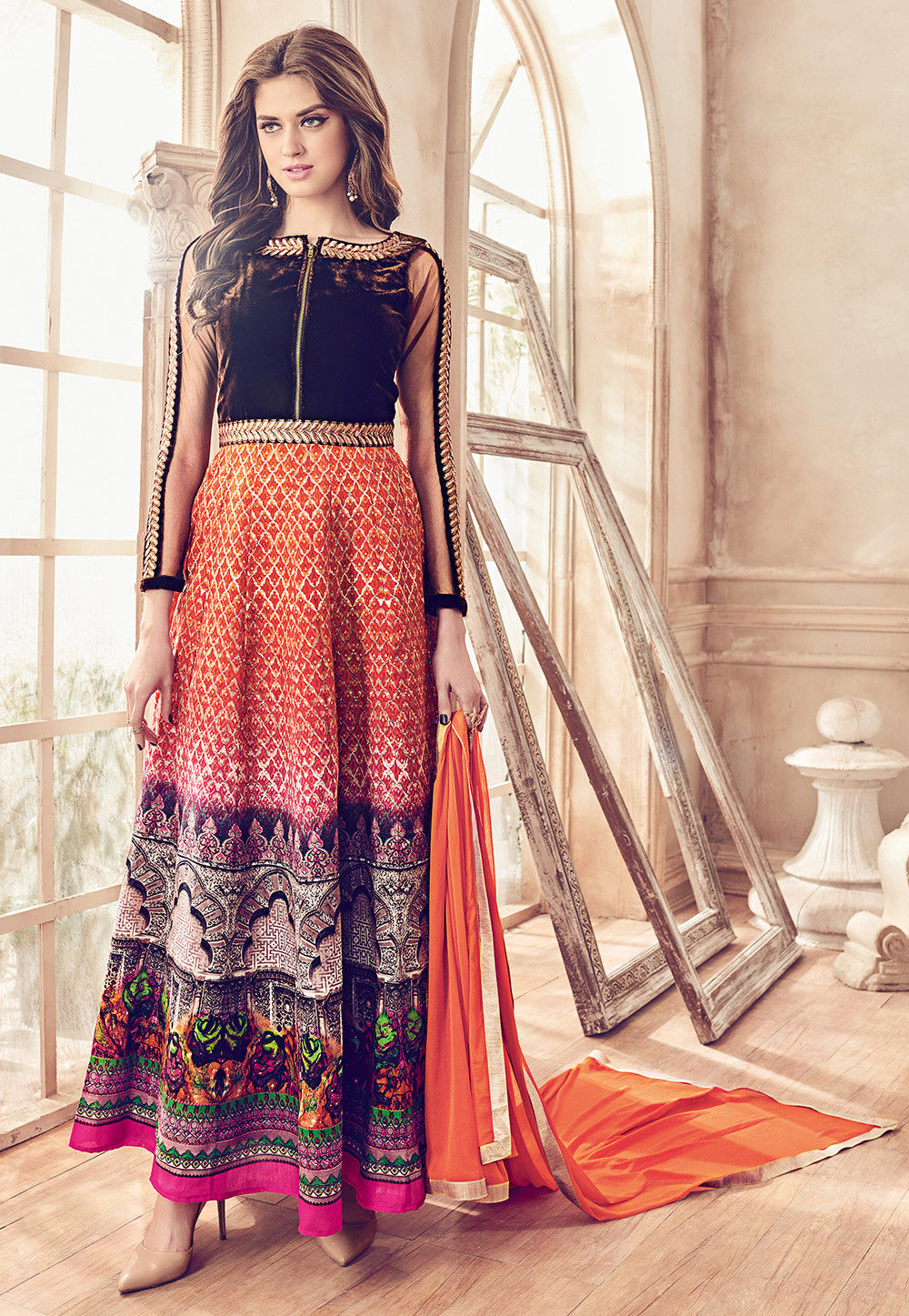 Printed Art Silk Abaya Style Suit in Orange and Brown
