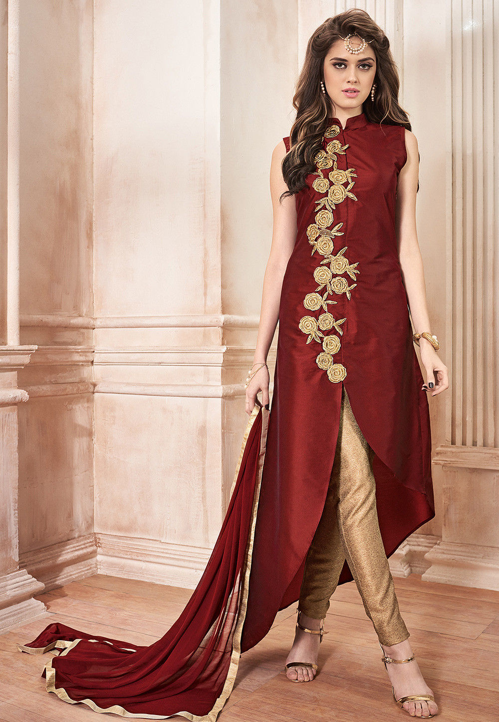 d9bfef42f9c Embroidered Taffeta Silk Pakistani Suit in Maroon   KCH316