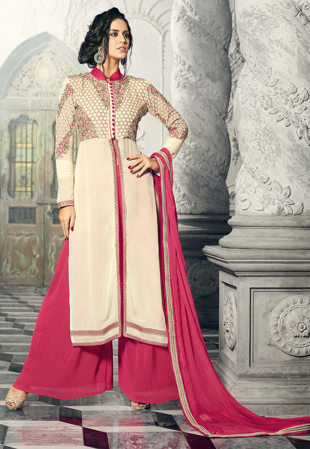 Embroidered Georgette Pakistani Style Suit in Cream