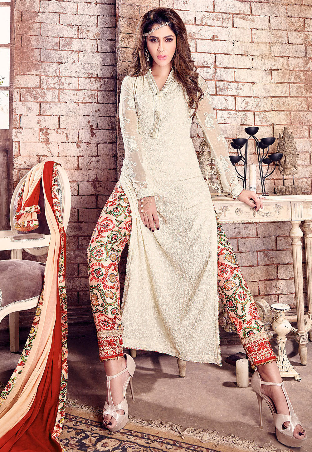 3dccb91a983 Embroidered Georgette Pakistani Suit in Off White   KCH373