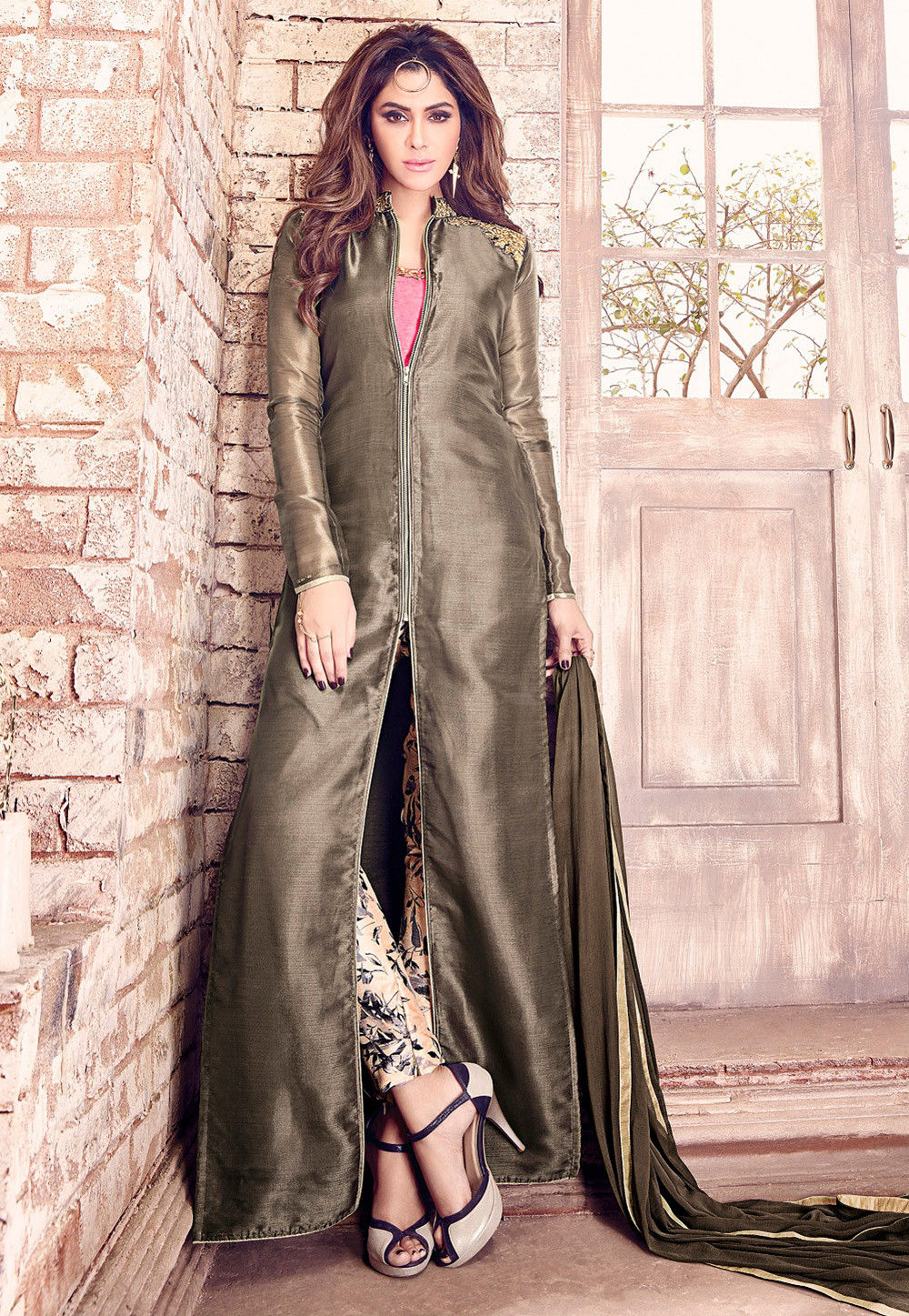 Embroidered Tissue Pakistani Suit in Antique