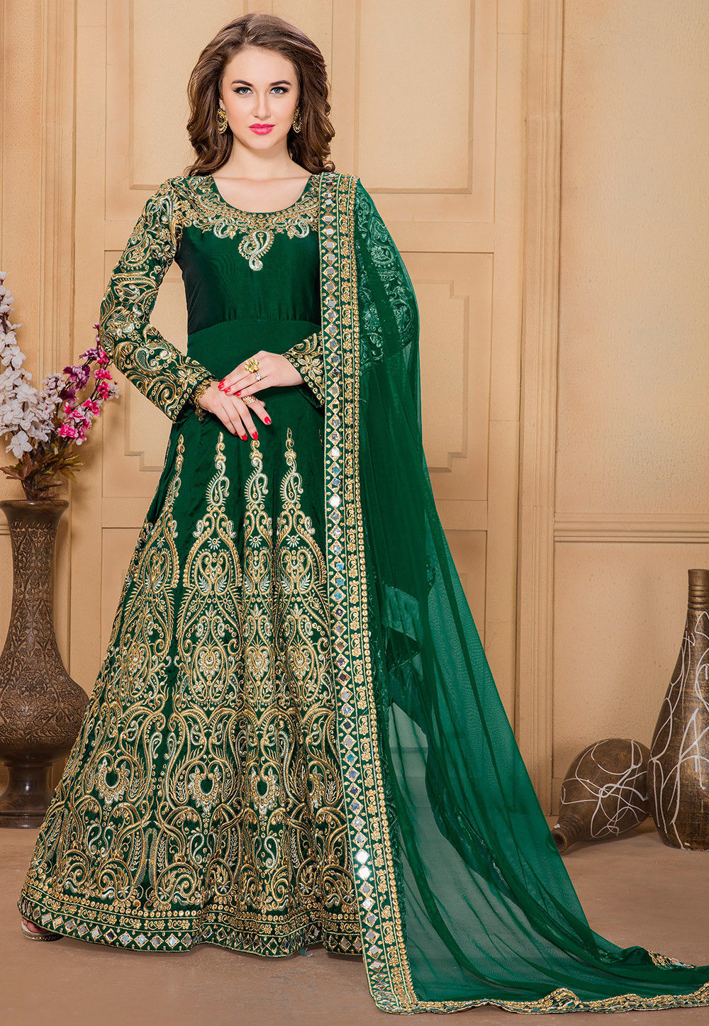Embroidered Taffeta Abaya Style Suit in Dark Green