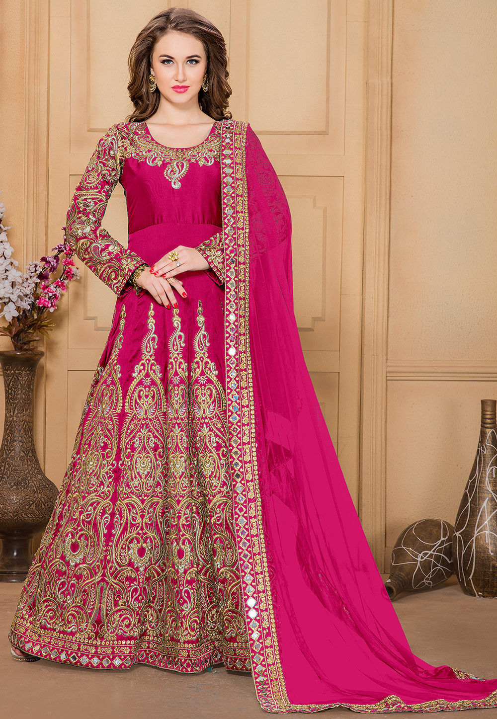 Embroidered Taffeta Abaya Style Suit in Fuchsia