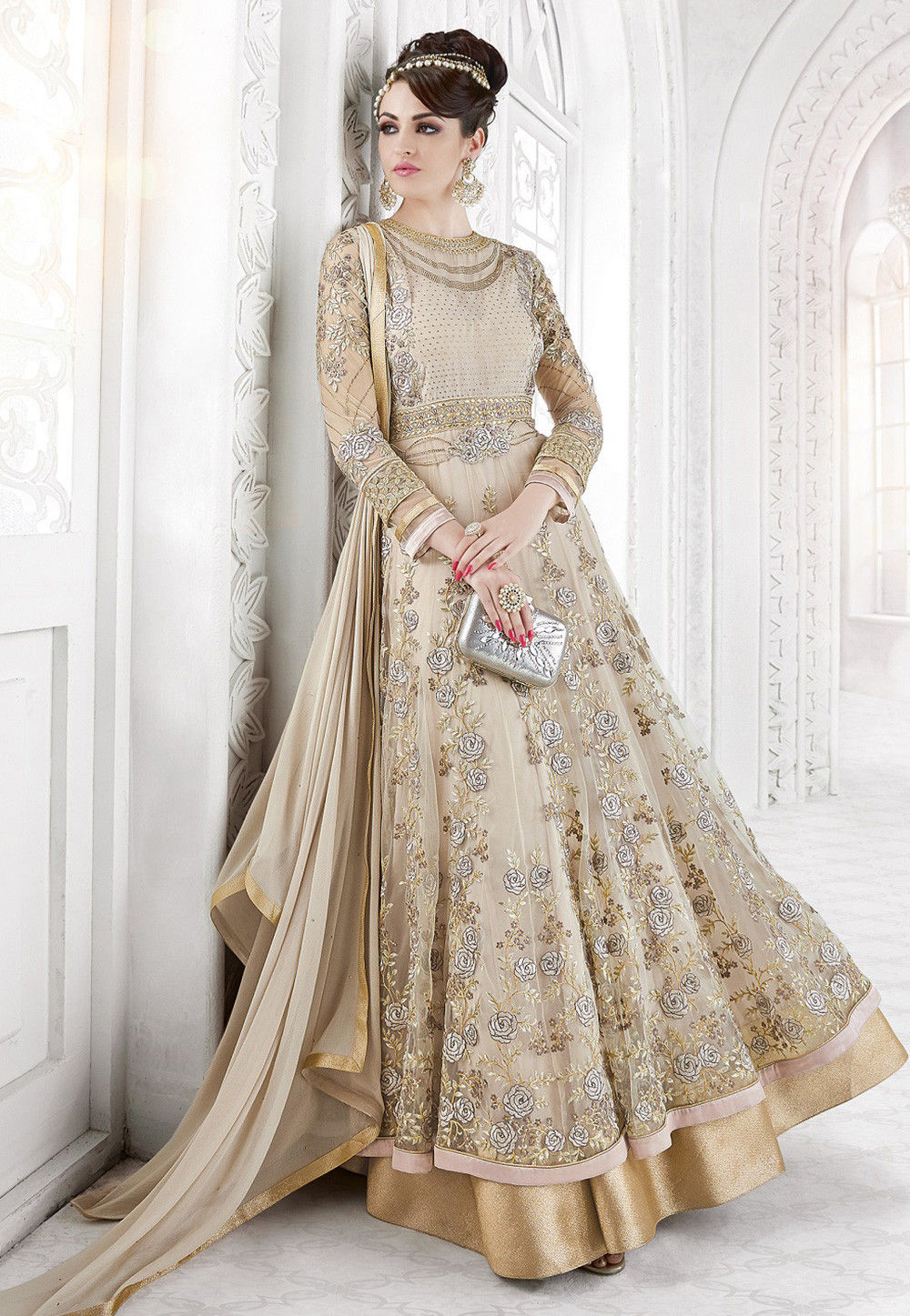 Utsav fashion shopping bag - Embroidered Net And Georgette Abaya Style Suit In Beige