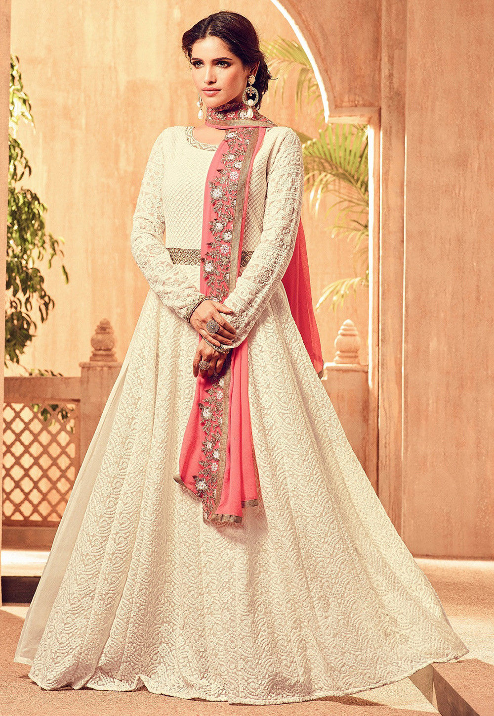 905a69b38b Embroidered Georgette Abaya Style Suit in Off White : KCH510