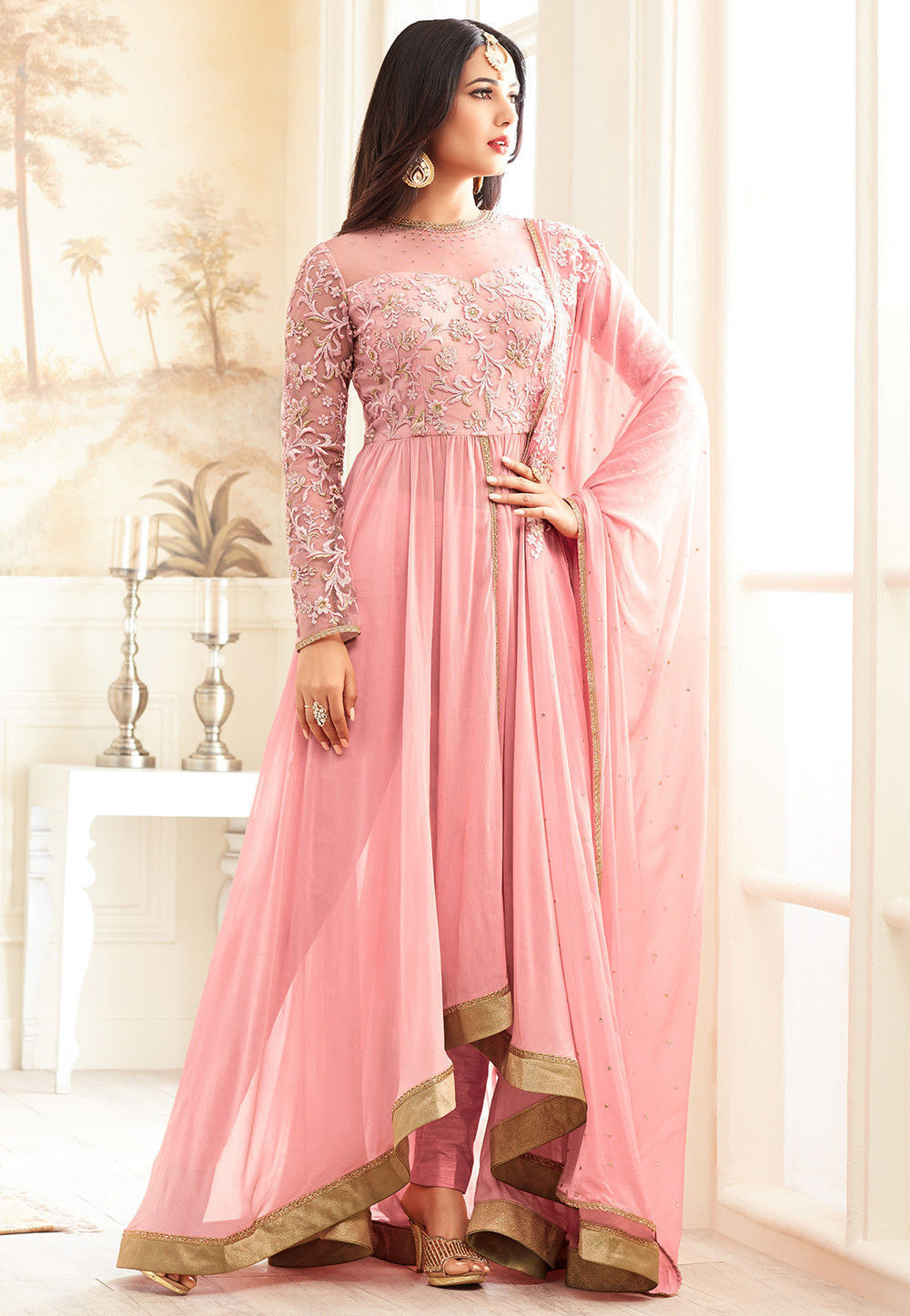 a576c40e19 ... Salwar Kameez; Embroidered Georgette Abaya Style Suit in Light Peach.  Zoom