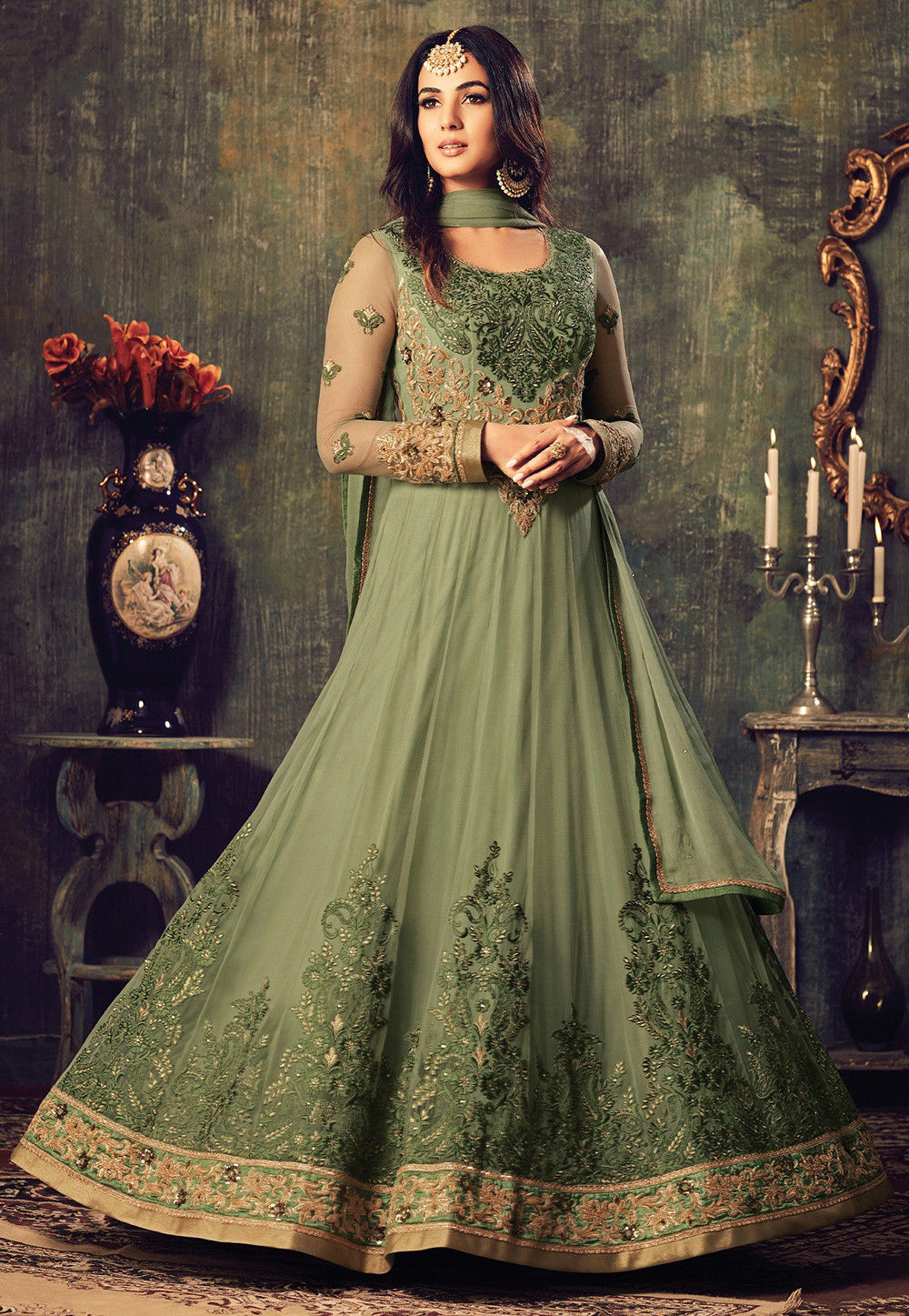 Embroidered Net Abaya Style Suit in Dusty Green