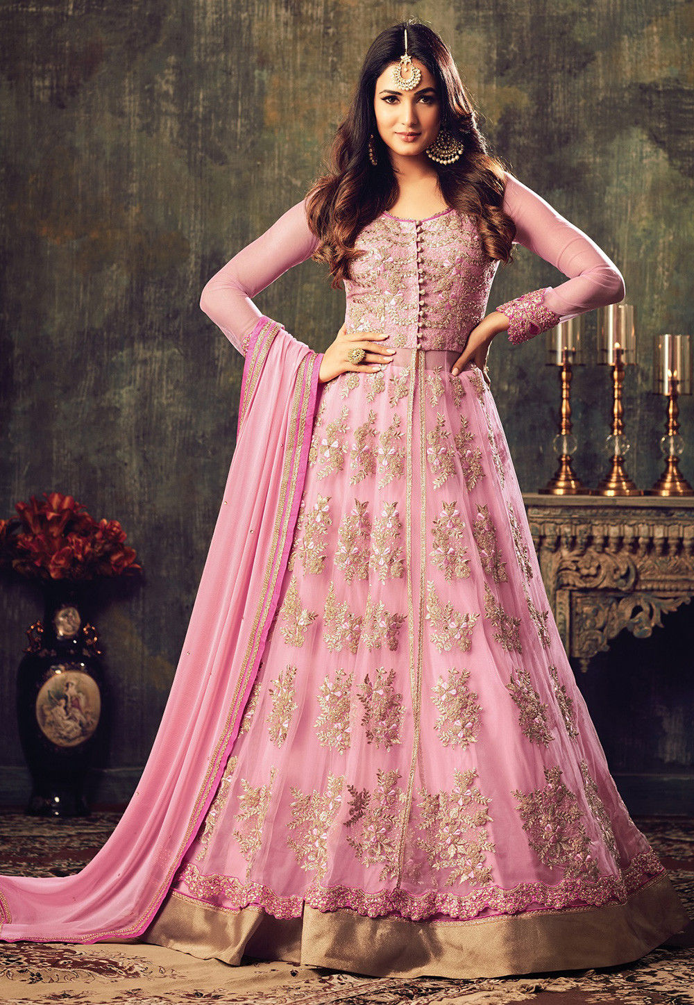 Embroidered Net Abaya Style Suit In Baby Pink Kch629