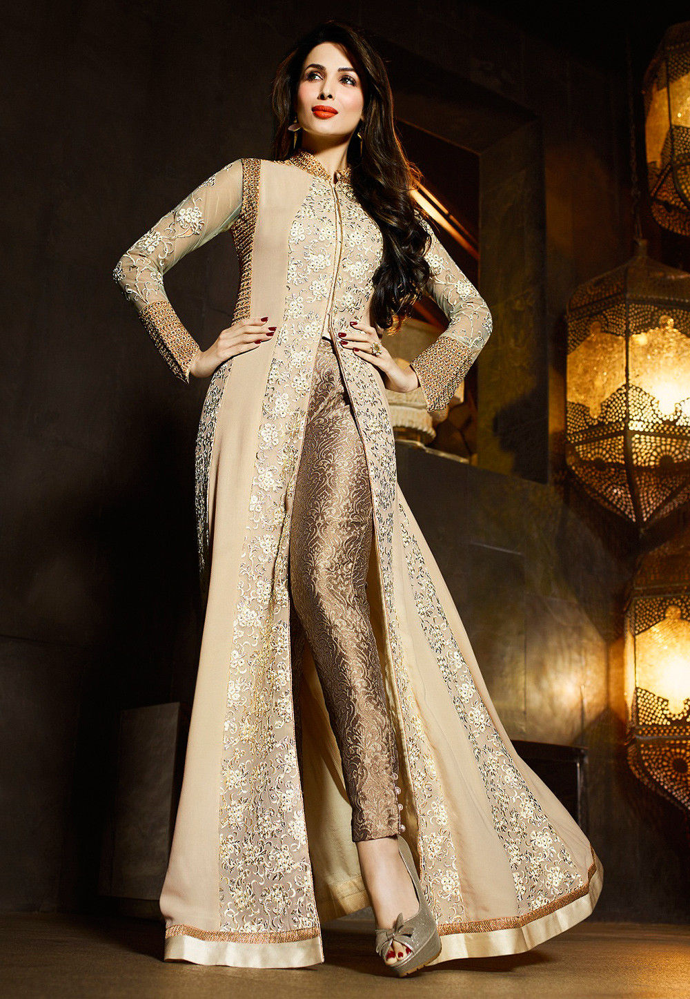 Embroidered Abaya Style Front Slit Georgette Suit In Beige