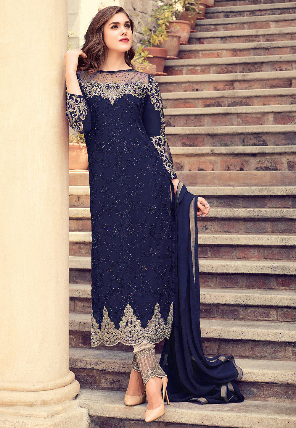 Embroidered Georgette Pakistani Suit In Navy Blue Kch849