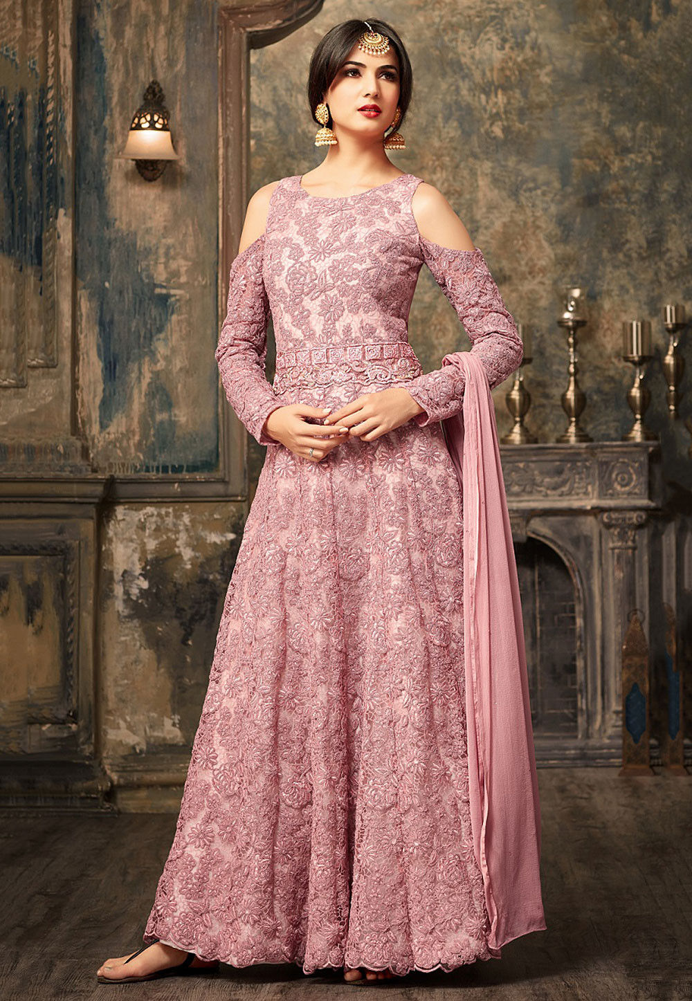 efb7f0de19 ... Salwar Kameez; Embroidered Net Abaya Style Suit in Light Pink. Zoom