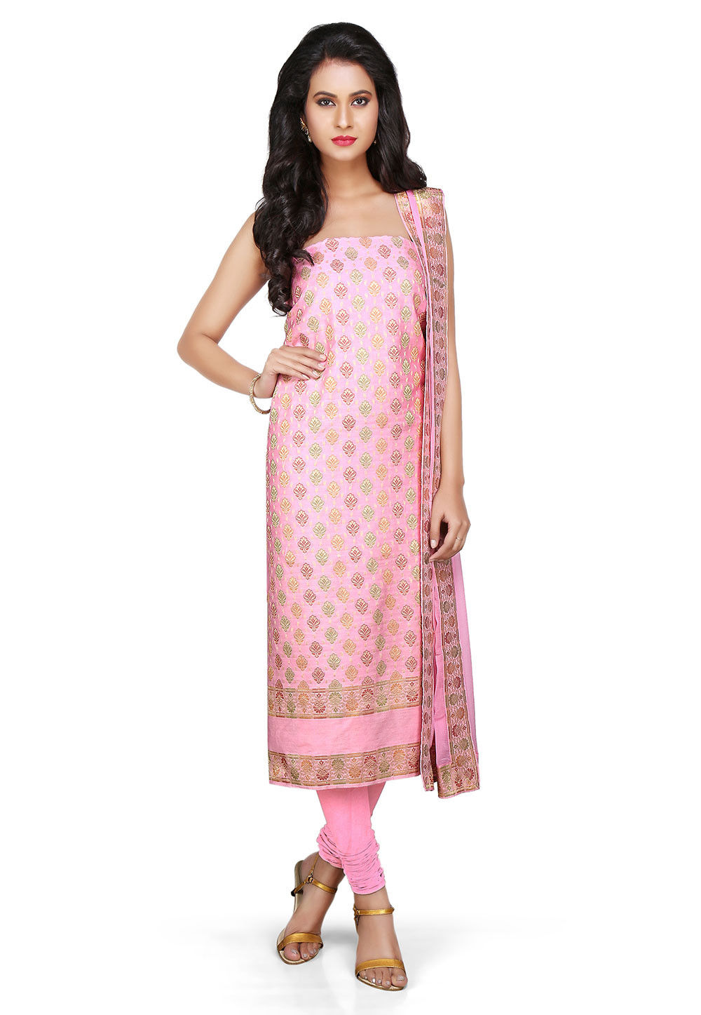 Woven Art Silk Suit in Pink