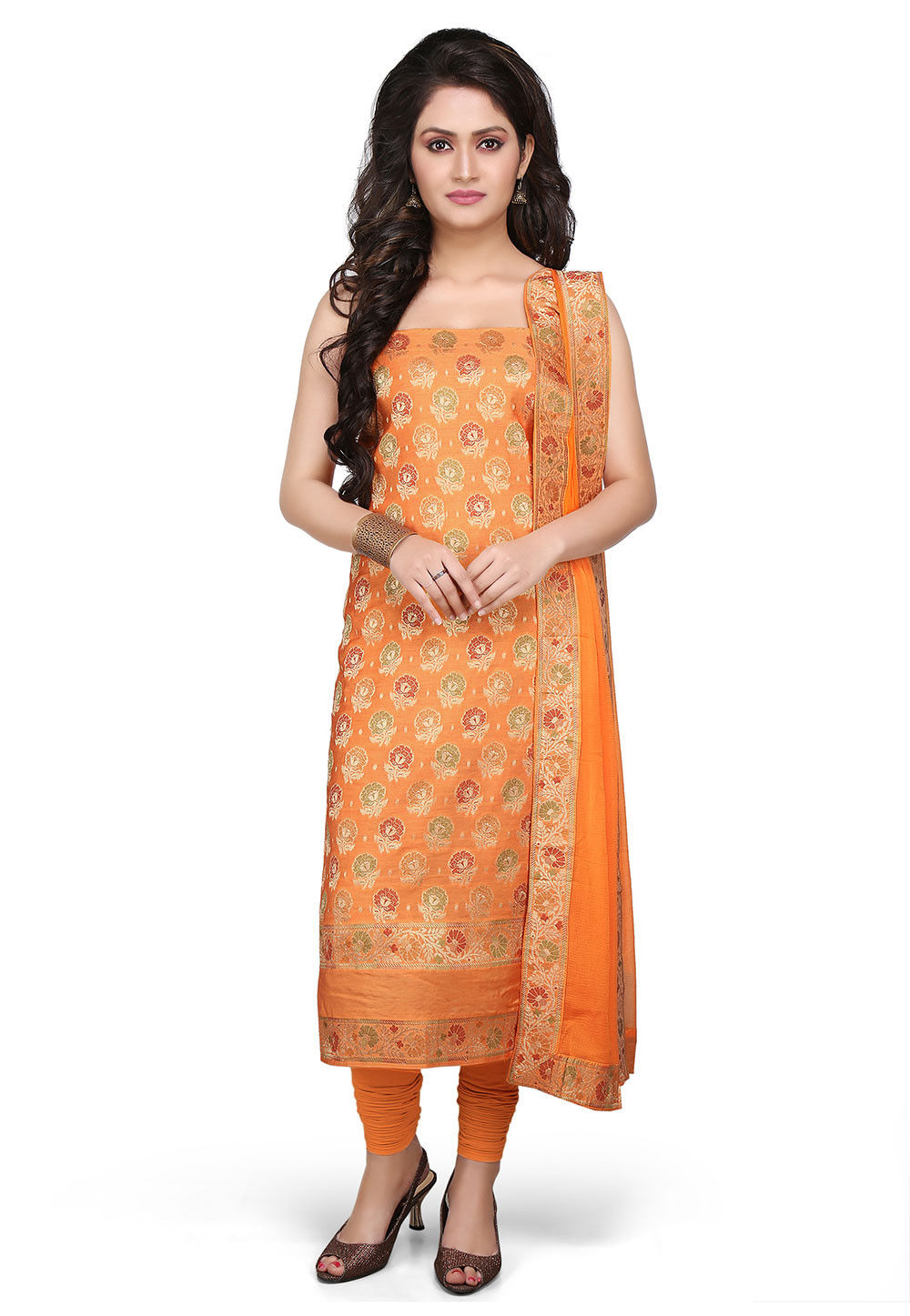 Woven Art Silk Suit in Orange