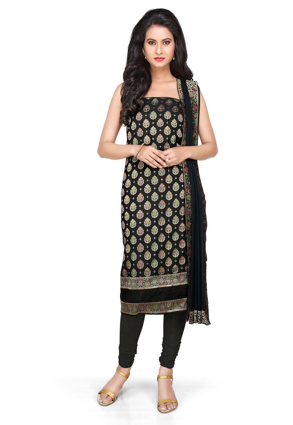 Woven Art Silk Unstitched Suit In Black