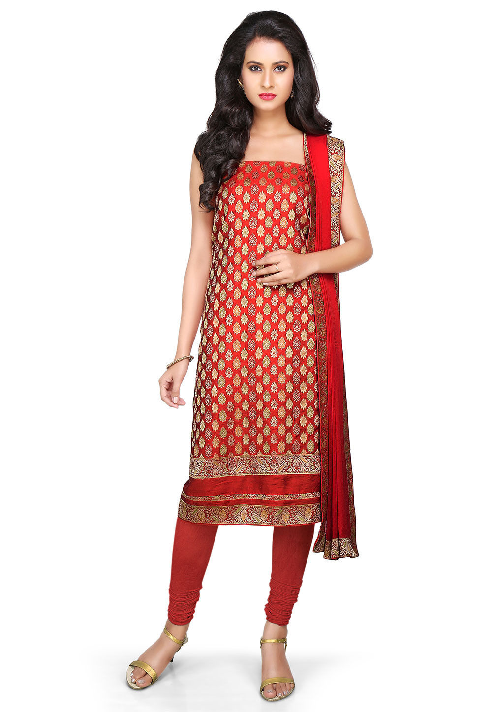 Woven Art Silk Suit in Red