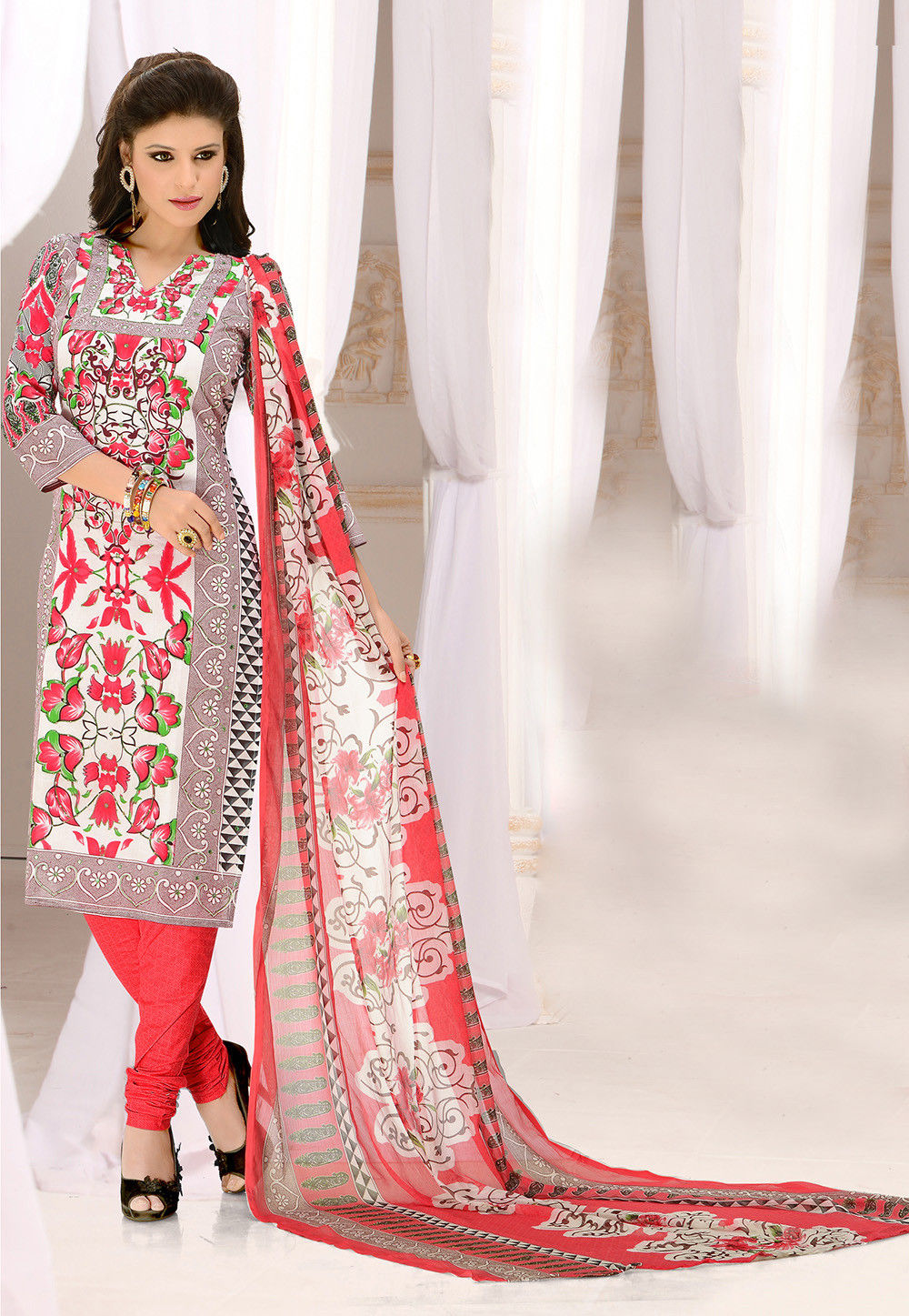 Printed Straight Cut Suit in Multicolor