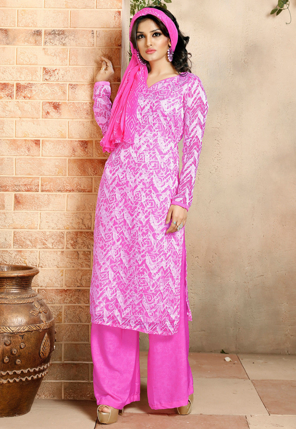 Printed Straight Cut Brasso Suit in Pink