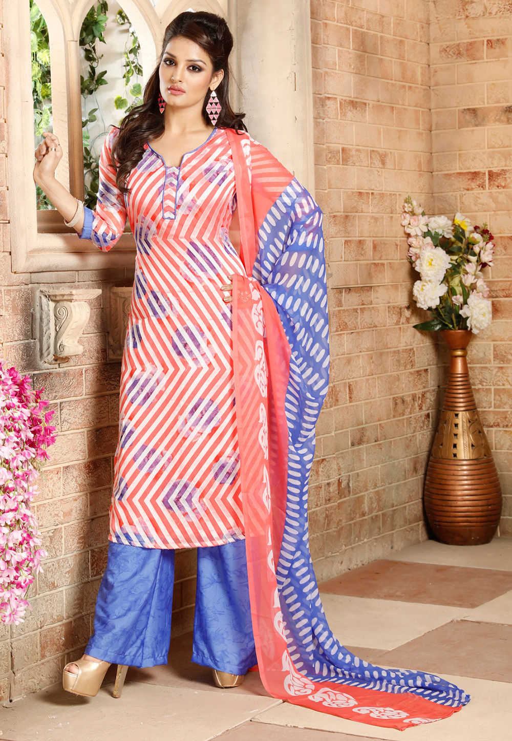 Printed Straight Cut Brasso Suit in Peach