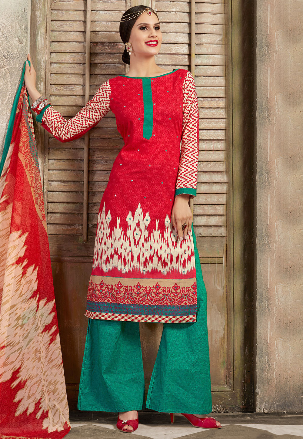 Printed Poly Cotton Pakistani Suit in Red