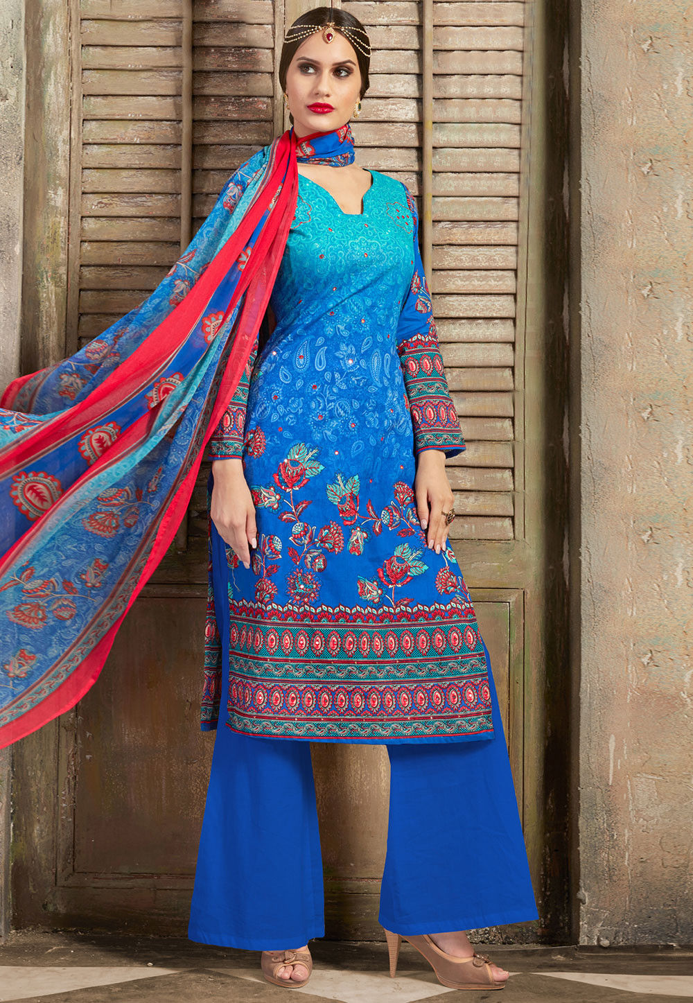 Printed Poly Cotton Pakistani Suit in Blue