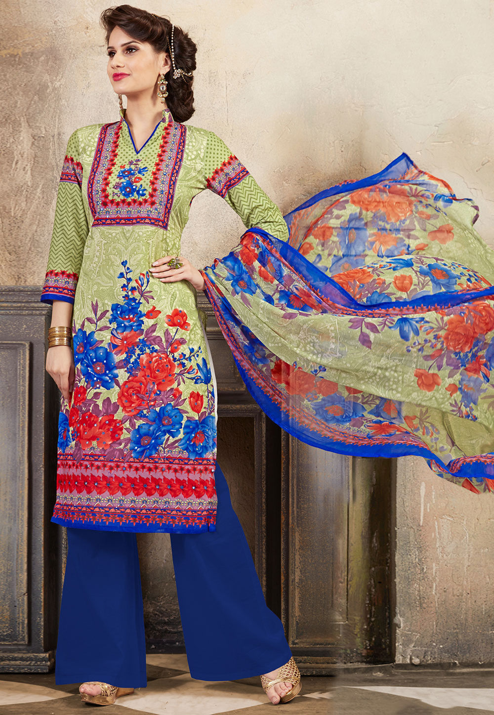 Printed Poly Cotton Pakistani Suit in Pastel Green