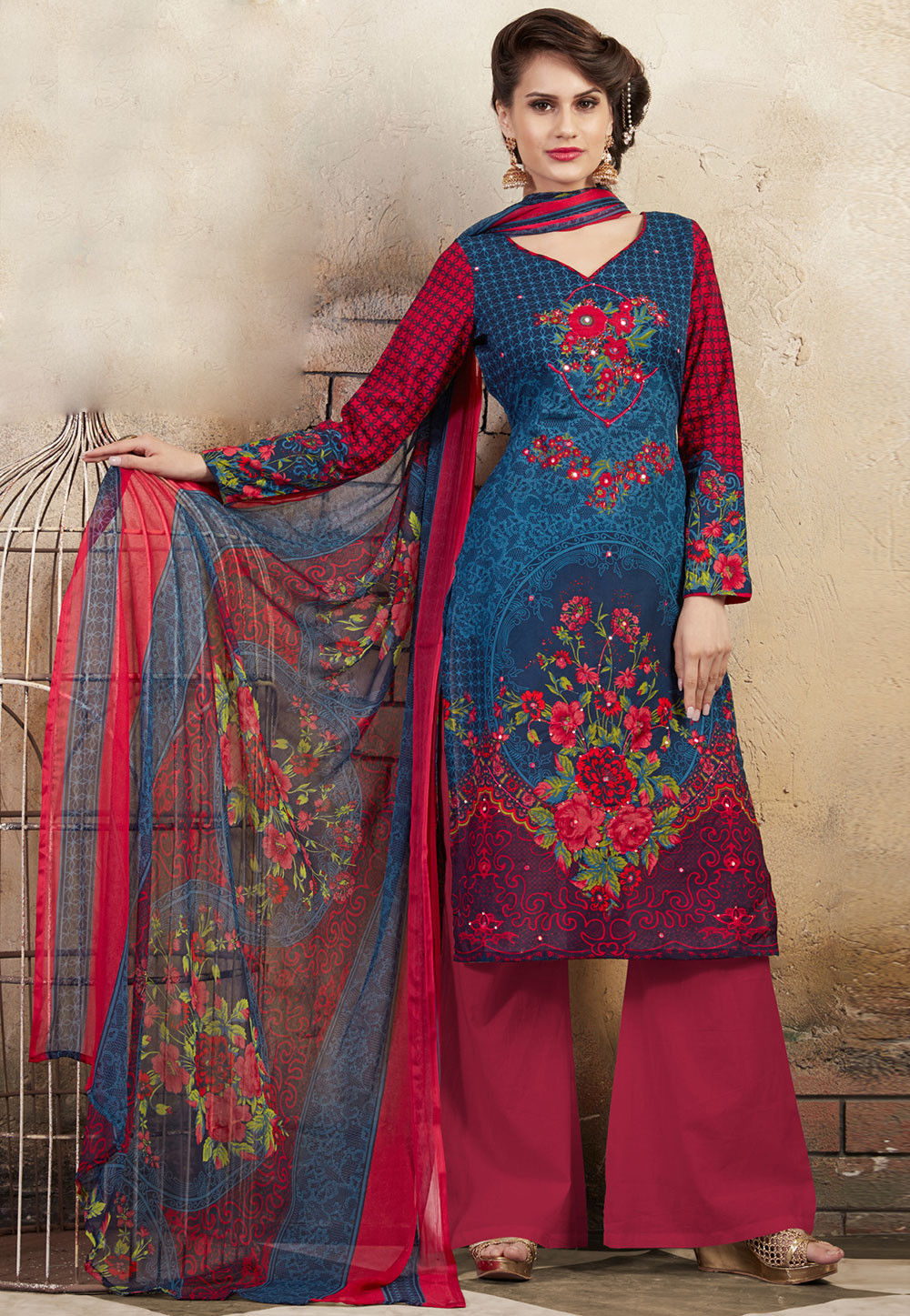 Printed Poly Cotton Pakistani Suit in Teal Blue