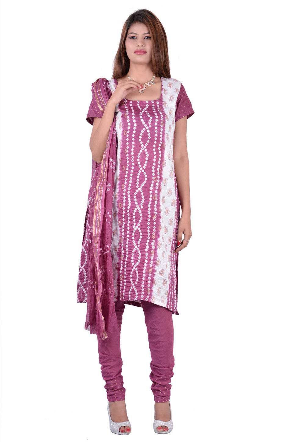 Printed Cotton Straight Cut Suit in Magenta and White