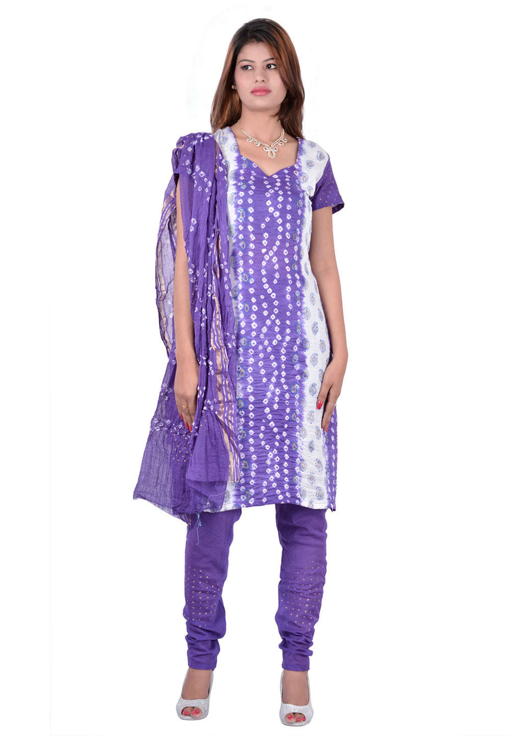Printed Cotton Straight Cut Suit in Purple and White