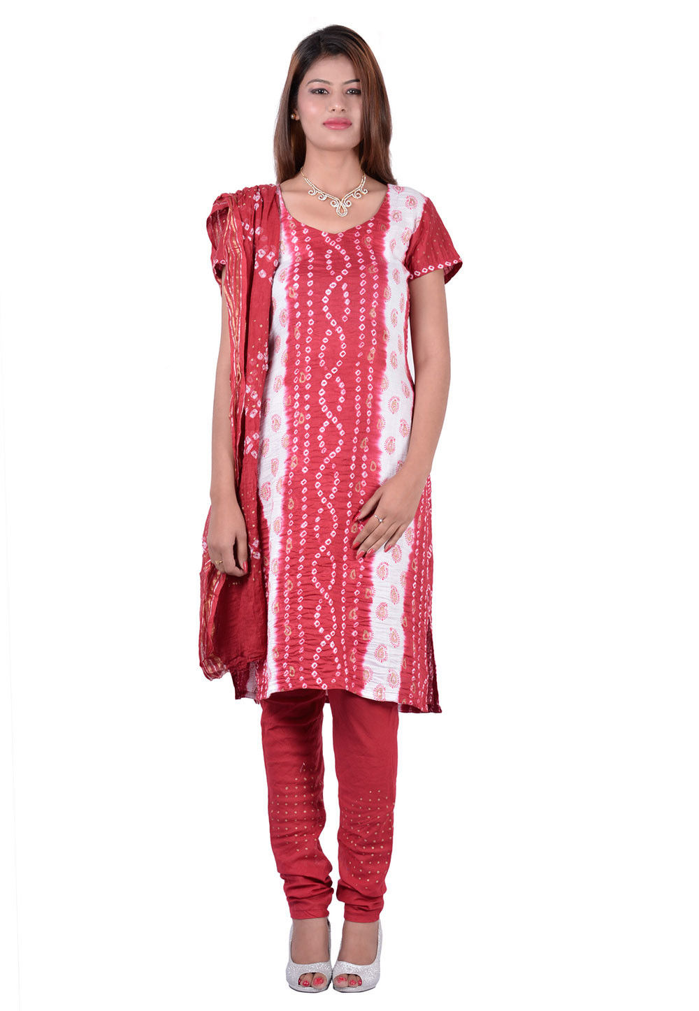 Printed Straight Cut Suit in Red and White